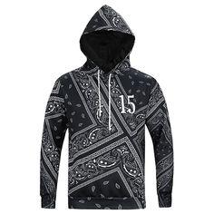 Black 15 Printing Hooded Sweatshirt-L6018