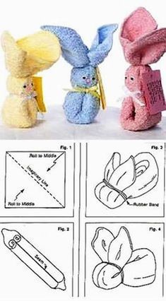 Do It Yourself: Easter Bunnies - Parties .- Направи си сам: Великденски зайчета – Страни… Do it yourself: Easter bunnies – Parties … Handtuch 🧻 # Easter # bunnies # Do it # himself # your - Bunny Crafts, Easter Crafts, Spring Crafts, Holiday Crafts, Towel Origami, Diy Origami, Towel Animals, How To Fold Towels, Baby Washcloth