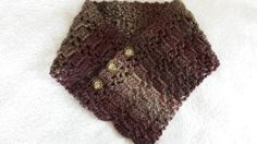 Scarf Button Neckwarmer Crocheted Brown Adjustable by softtotouch
