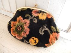 Vintage Make up Bag Chenille Clutch Boho Purse by AMarigoldLife