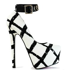 Black and white pumps with geometric print #cutesyoriginals