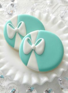 Fancy blue sugar cookies with a white bow