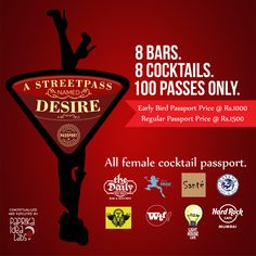 drinking deals for ladies in Mumbai- cocktail passport Time Out's A Streetpass named Desire with Explorate