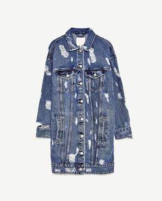 VESTE DENIM LONGUE de Zara