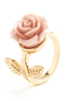 Retro Rosie Ring in Leaves - Pink, Gold, Solid, Flower, Fairytale