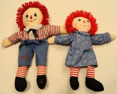 "Raggedy Ann & Andy Dolls Lot of 2 Ann is 16"" + has 2002 Tush Tag Andy is 17 1/2"" #AnnisHasbro"