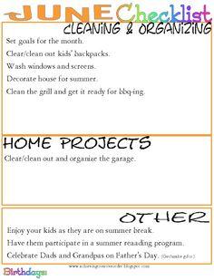 Achieving Creative Order: June Organizing Checklist