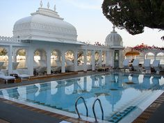 Udaipur, Lake Palace Hotel swimming pool, Rajasthan, India......Obviously there's no problem with water supplies in the Lake Palace Hotel!