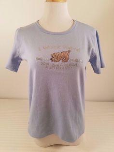 Womens Isaacs Designs Rhinestone Beaded Dog Lover's Emblem Blue Top Shirt Size S #IsaacsDesigns #EmbellishedTee