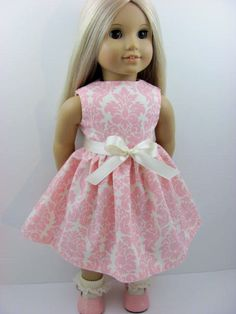 Pink and Ivory Damask Doll Dress and Sash for the American Girl Doll,. $10.00, via Etsy.