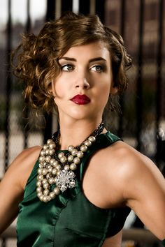 Accessories, hair, makeup and photography for green evening gown.