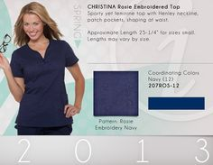 207 Christina Top | 207ROS-12 (Rosie Embroidery Navy) CLEARANCE