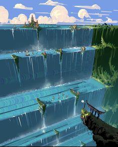Fantasy Art Landscapes, Fantasy Landscape, Landscape Art, Fantasy Places, Fantasy World, Rpg Cyberpunk, Gato Anime, Fantasy Concept Art, Fantasy Setting