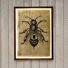 8.3 x 11.7 inches (A4) botanic poster. Bee decor for home and office. Insects print on a handmade antique dictionary page. BUY 1 GET 1 FREE - use the