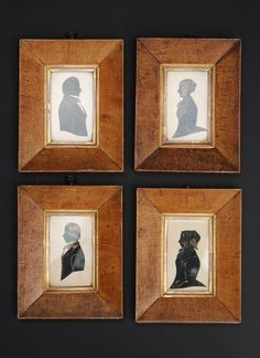 Set of Four Framed Silhouettes, London, 1851