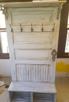 She bought a random door and used it to make this for her kitchen!
