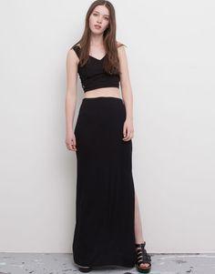 Pull&Bear - mujer - faldas - falda lisa larga abertura lateral - negro - 09398310-V2016