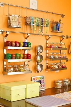 I wish I could be this organized in my craft room. Use IKEA Grundtal to Organize your Crafts - Top 58 Most Creative Home-Organizing Ideas and DIY Projects, Organize your home frugally with these genius ideas and projects. Craft Room Storage, Craft Organization, Organizing Ideas, Ikea Storage, Craft Rooms, Storage Ideas, Wall Storage, Organising, Kitchen Storage