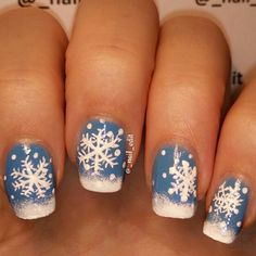 Painted snowflakes on top of Ciaté - Holiday Blues =)