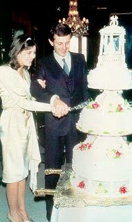 HSH Princess Caroline of Monaco and Stefano Casiraghi cut their wedding cake on December 29, 1983.