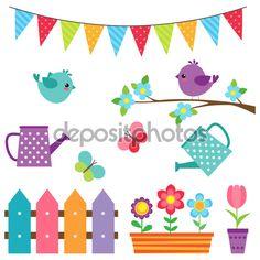 Baixar - Conjunto de pássaros e flores — Ilustração de Stock #106211876