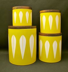 4x RARE VINTAGE CATHERINEHOLM NORWAY LOTUS KITCHEN CANISTERS CATHERINE HOLM! http://r.ebay.com/yriqMn