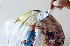 Ingredients: Photos to print. Printer  11×17 copy paper, 12″ Paper Lantern  Gel Medium, Sponge Brush  Tape, Xacto knife, Cutting Surface  Sphere template (optional)