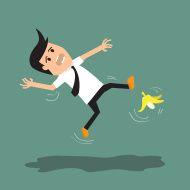 Businessman set: man slipping on a banana peel. vector illustrat stock vector art 72226111 - iStock