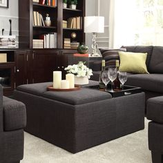 This Avenue Collection ottoman feature lids that come off to reveal spacious storage compartments and, for cocktail hour, the lids invert to form a four-section coffee table. This stylish cocktail ottoman is the perfect accent piece to brighten any room.