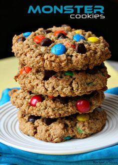 Monster Cookies 1 1/2 cups creamy or chunky peanut butter 1 cup packed light brown sugar 1 cup granulated white sugar 8 tablespoons (1 stick) unsalted butter, softened 3 large eggs 1 tablespoon vanilla extract 4 1/2 cups quick cooking oats 2 teaspoons baking soda 1 cup semi-sweet chocolate chips 1 cup M's plain chocolate candies Bake @ 350°F for 10-12 mins.
