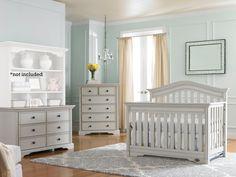 Bonavita Westfield 3 Piece Nursery Set in Linen Gray - Crib, Dresser, 5 Drawer Dresser