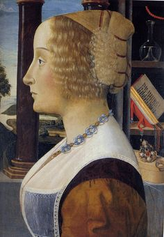 Woman, ca. 1490 (Domenico Ghirlandaio) (1449-1494)  Huntington Library, CA Best resolution of this image that I've seen. Note pendant below prayer book on shelf and coral rosary / paternoster hanging above glass flask