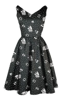 LUCKY 13 SWING DRESS ROCKABILLY 50S HAIR SPRAY WOMENS RETRO VINTAGE ANCHOR DRESS