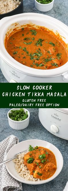 slow cooker chicken tikka masala - an indian restaurant takeout favorite - is easy to prepare, delicious, and comforting. no advance cooking necessary. gluten free, with a paleo/dairy free option. get the recipe today and enjoy an easy, protein-packed dinner! #slowcooker #chicken #tikkamasala #easy #crockpot #dairyfree #indian #paleo