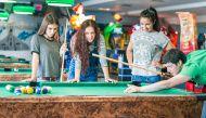 Young friends playing billiard #microstock #billiard #playing #group #young #friendship #friends #lifestyle #modern