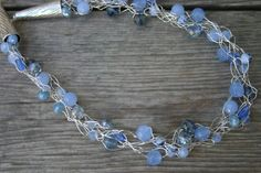 Blue Glass Crocheted Wire Necklace Blue Glass by ApricotSkyJewelry