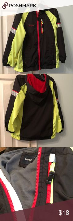 London Fog Boys Coat London Fog lightweight boys coat in size 7. 100% polyester. Machine wash and dry. Black and neon yellow with red hood interior and red, white and silver trim. Lightweight gray fabric lining. London Fog Jackets & Coats Raincoats