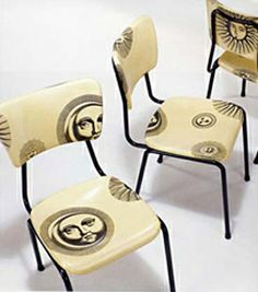Piero Fornasetti - Designer - Dining chairs, ca 1970 Vintage Furniture Design, Home Decor Furniture, Home Decor Items, Upcycled Furniture, Painted Chairs, Painted Furniture, Piero Fornasetti, Vintage Interiors, Take A Seat