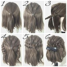 Half Up Hairstyles For Brief Hair # Hair # Coiffure # Coiffure Haircourt # Coiffure Hairlong Half Up Half Down Short Hair, Half Up Half Down Hair Tutorial, Easy Hairstyles For Long Hair, Amazing Hairstyles, Short Braided Hairstyles, Homecoming Hairstyles Short Hair, Wedding Hairstyle Short Hair, Trendy Hairstyles, Easy Elegant Hairstyles