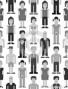 Pixel people seamless pattern by Laralova, via Dreamstime