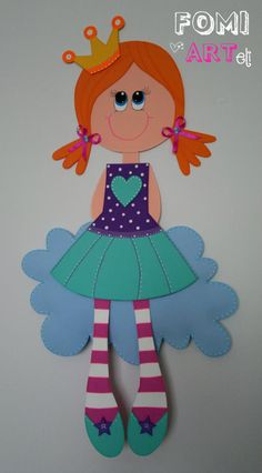 Princesa en Fomi Foam Crafts, Diy And Crafts, Crafts For Kids, Arts And Crafts, Paper Crafts, Mosaic Projects, Projects To Try, Diy Y Manualidades, General Crafts