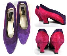 Vintage purple and pink suede leather 1980s kitten heel shoes US 8.5, EU 39, UK 6.5 Retro style pumps