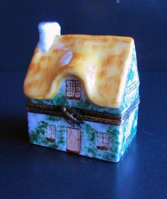 Limoges Trinket Box Thatched Cottage Chamber D'Hote French B & B