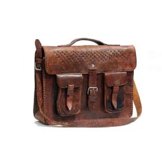 vintage rugged brown leather bag