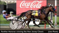 "Panther Hanover, the fastest harness racing horse of 2012 with a 1:47.2 mile in the New Jersey Classic at The Meadowlands, Sylvain Filion driving for trainer James ""Friday"" Dean"