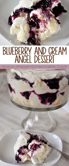 This heavenly blueberry and cream angel dessert is a mess of heaven on a plate. This heavenly blueberry angel food cake dessert is light and delicious! So simple to prepare, it is the perfect ending to any meal (I always get asked for the recipe! Angel Food Cake Desserts, Desserts Nutella, Easy Desserts, Delicious Desserts, Birthday Desserts, Fruit Trifle Desserts, Angel Food Cake Trifle, Desserts With Blueberries, Angel Food Cake Toppings