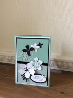 Stampin Up Botanical Builders Framelits Mint Macaron card CASE'd from Dawn Griffith and made with Stamping Suse