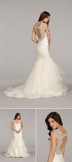Hayley Paige wedding dress with beautiful open back detail from fall 2014 bridal market | via junebugweddings.com
