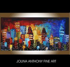 art original  painting Abstract Painting city by jolinaanthony, $379.00