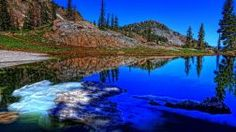 Gray Mirror Sky Water Dynamic Frozen Mountains Cold Beautiful Blue Beauty Range Nature Clouds Lakes White Cool Trees Grass Green Mounts Colorful Brown Colors Pines Icy Maroon Black Reflected Shadows Reflections Morning Stones Nice Lake Scenes Wallpaper